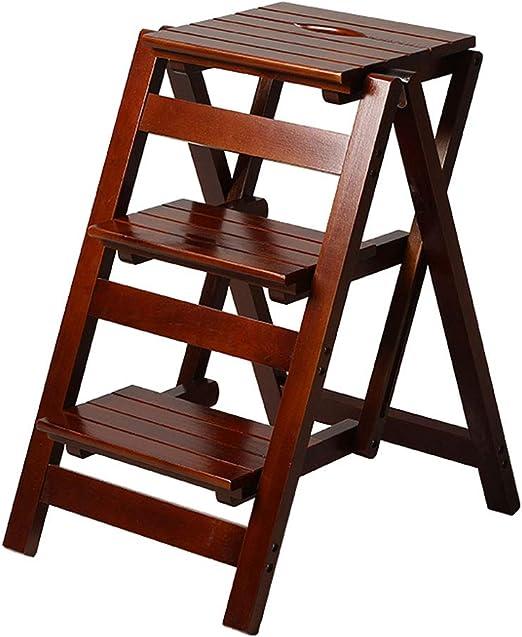 3 Pasos Taburete Hogar De Madera Escalera Plegable Silla Biblioteca Biblioteca de Herramientas de Jardín Ligero Escalera Escalera Portátil Carga Máxima 150 KG: Amazon.es: Hogar