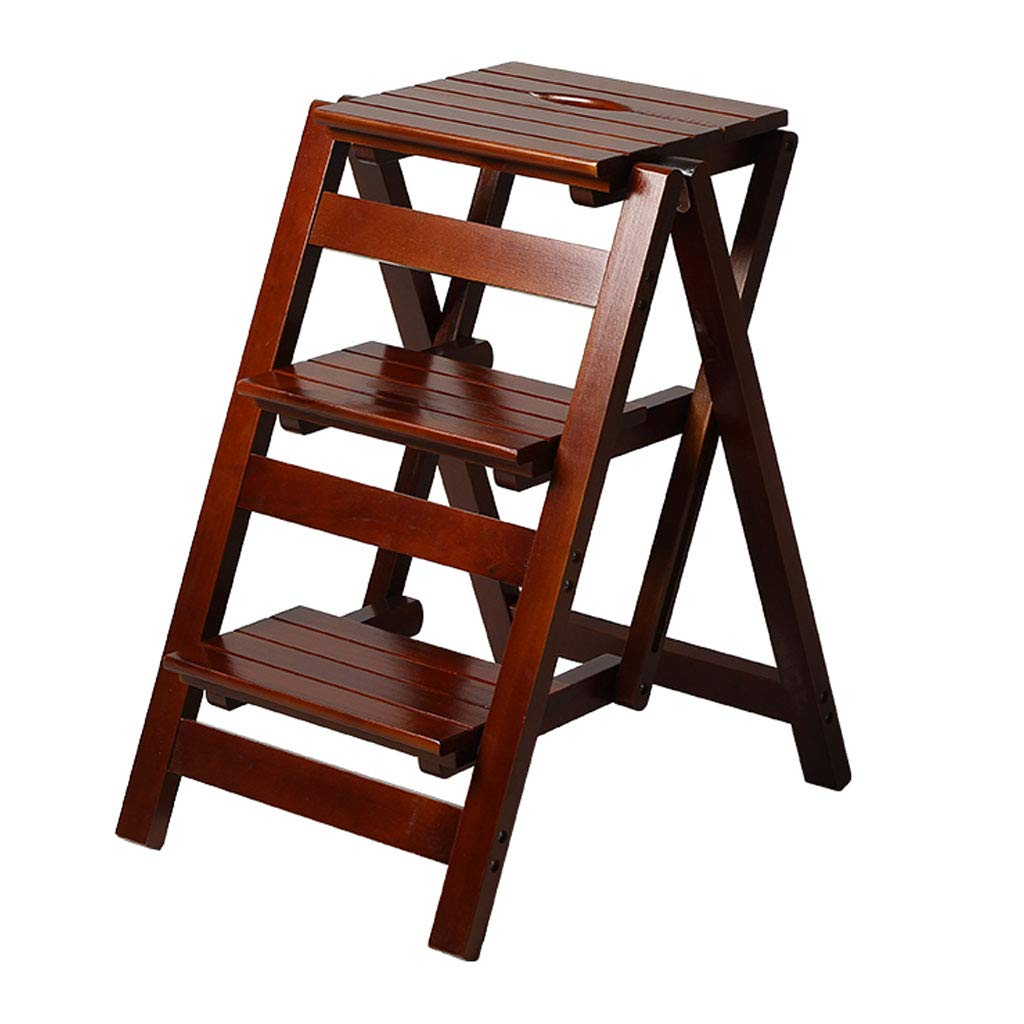 3 Step Stool Home Wooden Folding Ladder Chair Thickened Library Stair Chair Portable Light Garden Tool Ladder Maximum Load 150KG (3 Colors) by HYXI-Stool