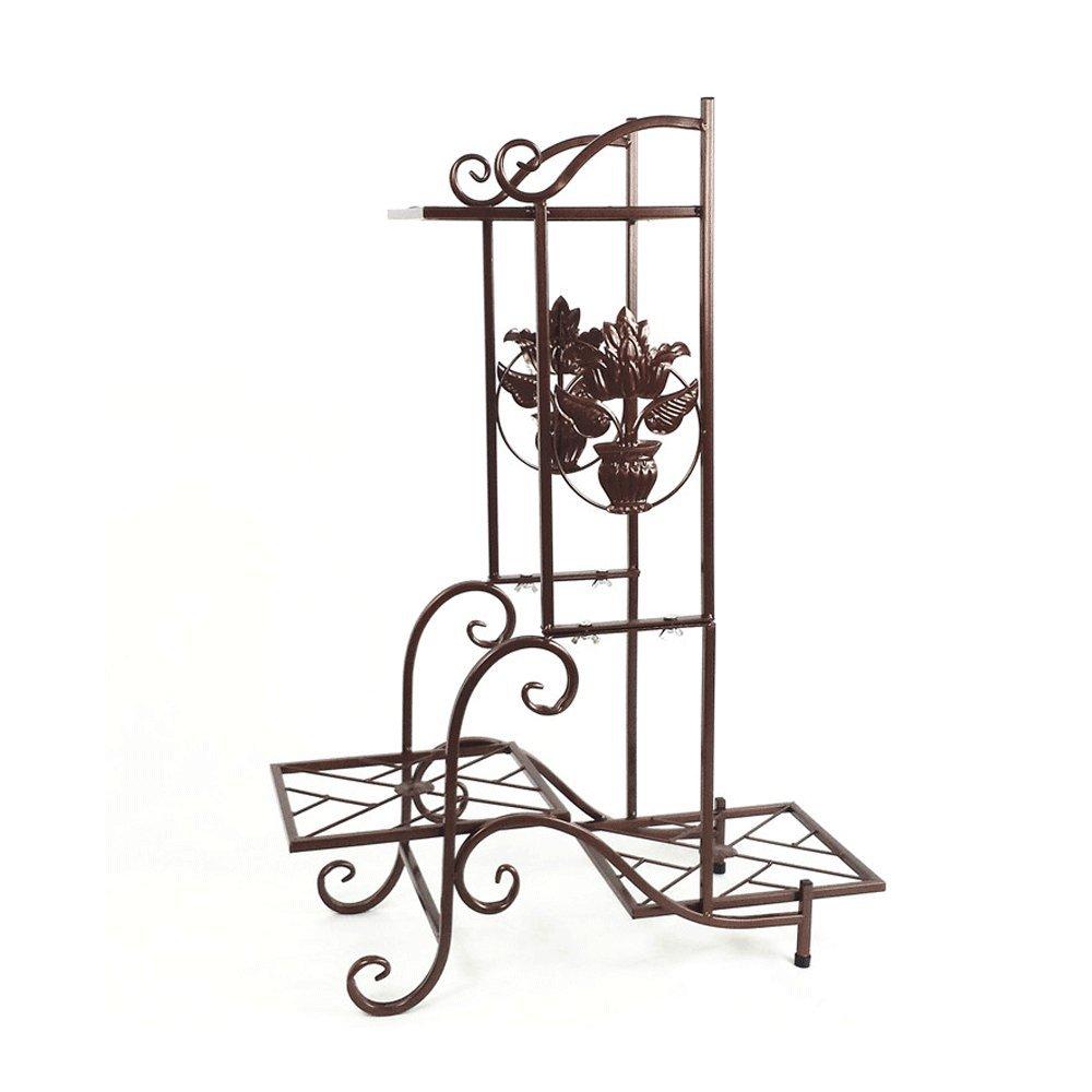 YH 錬鉄製の花の棚ヨーロッパのリビングルーム多層ブラックフラワースタンド屋内バルコニー床の洗面器フレーム植物ディスプレイスタンド A+ (色 : B) B07QPCQHNZ B