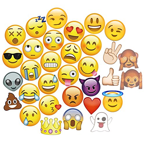 COKOHAPPY Big Size Emoji-Icon Smiley Face Photo Booth Props Kit, Black and Gold Glitter, DIY Pose Sign Party Decoration Supplies - 33 Printed Pieces with Wooden Sticks -
