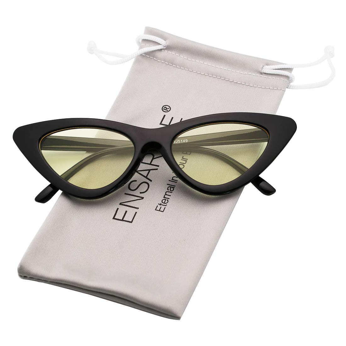 ad4d34ed1792e ENSARJOE Retro Vintage Trendy Cat Eye Sunglasses For Women Clout Goggles  Plastic Frame Glasses