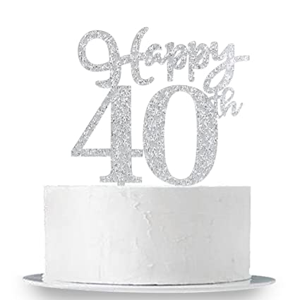 Amazon Happy 40th Cake Topper Glitter Silver Birthday