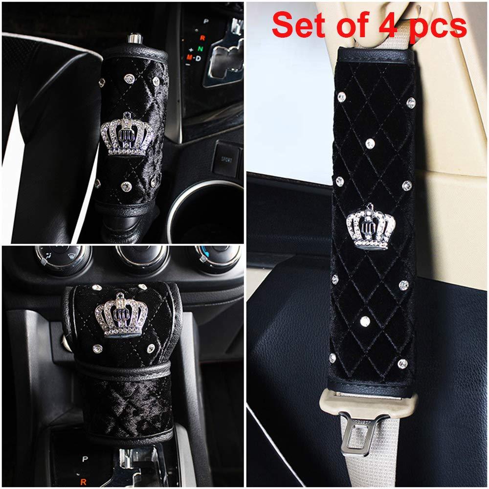 Dotesy 2pcs Bling Bling Seatbelt Shoulder Pads /& Handbrake Cover /& Shift Gear Cover Soft Plush Crystals Car Accessories for Women Set of 4pcs