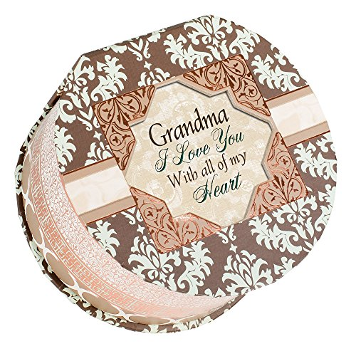 Cottage Garden Grandma Belle Papier Round Musical Jewelry Box with Damask Finish Plays Wonderful World