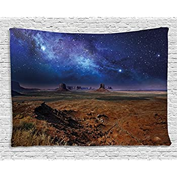 Ambesonne Night Sky Tapestry, Nebula Starry Stars in Desert Monument Valley Utah Arizona USA Landscape, Wall Hanging for Bedroom Living Room Dorm, 60 W X 40 L Inches, Dark Blue and Brown