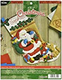 BUCILLA 86702 Felt Applique Stocking Kit Santa's Visit, Size 18''