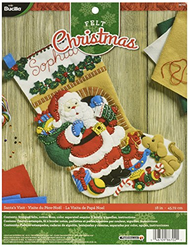 - Bucilla 86702 Felt Applique Stocking Kit Santa's Visit, Size 18-Inch