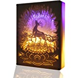 TEAM WORK Papercut Light Boxes ( A Deer of Nine Colors ),Creative Bedside Lamp of Remote Control,Soothing Light for Contemporary Living Spaces,3D Shadow Box USB LED Light