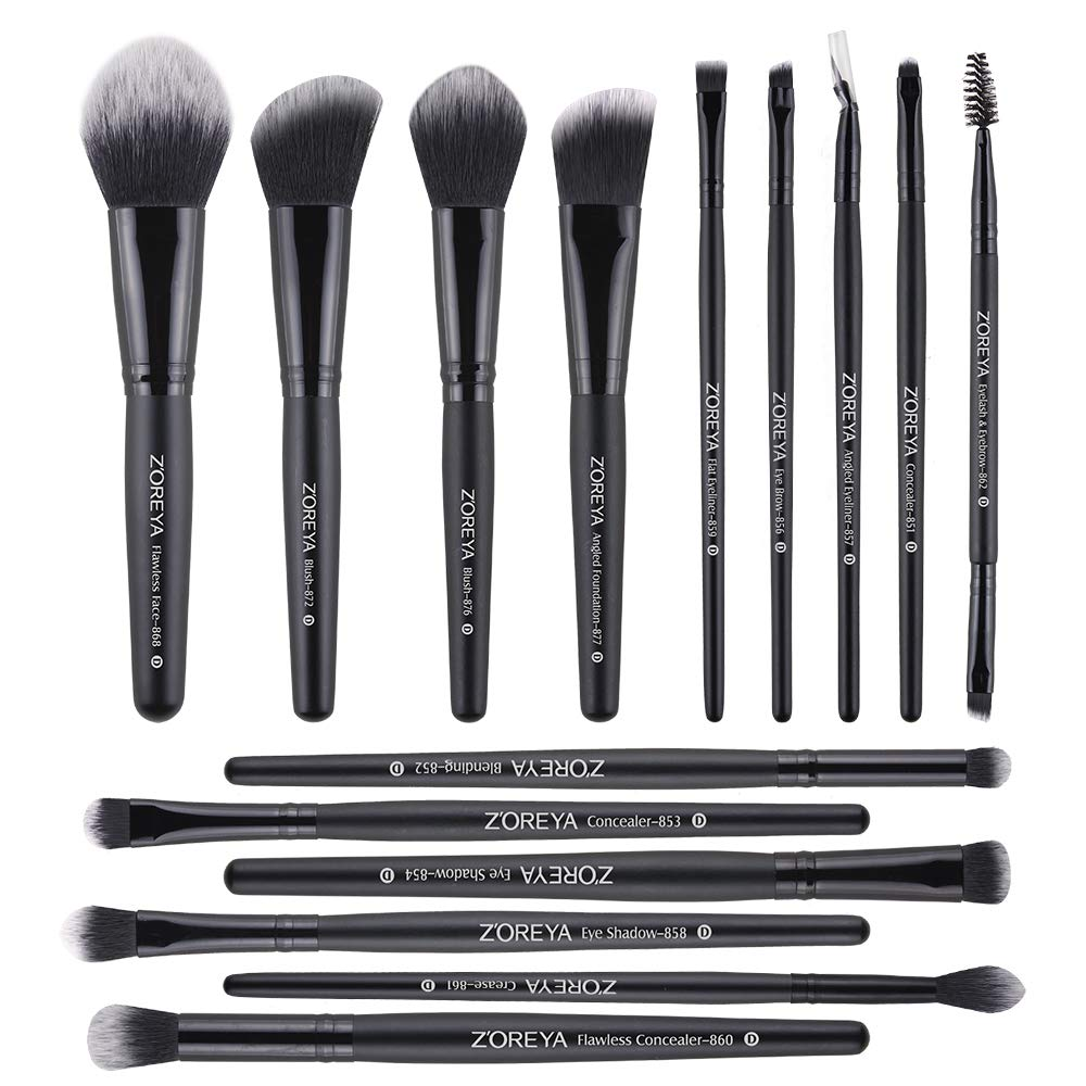 Zoreya Makeup Brushes 15 Pcs Premium Makeup Brush Set Synthetic Kabuki Brush Cosmetics Foundation Concealers Powder Blush Blending Face Eye Shadows Black Brush Sets