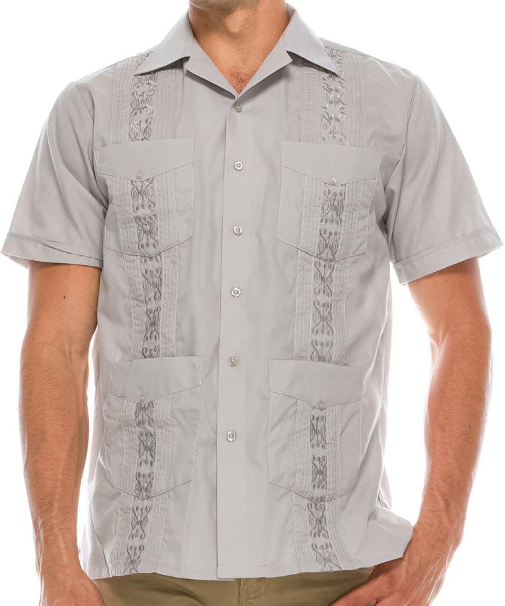 Volcan Men's Short Sleeve Cuban Guayabera Shirts (2XL, GUA01-Grey)