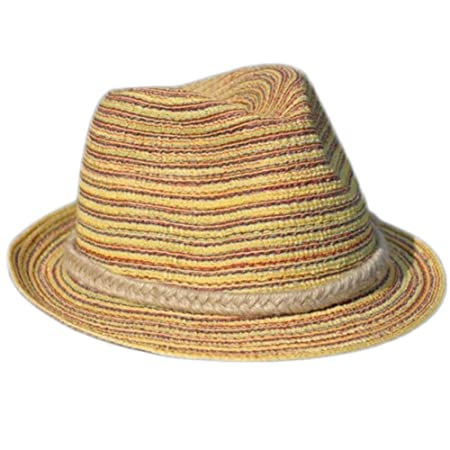 Fablcrew Beach Hat Fashion Girls Hats for Holiday Summer with Hemp Rope  Patchwork of Colorful Line Decor Brown  Amazon.co.uk  Kitchen   Home 5f81bb516255