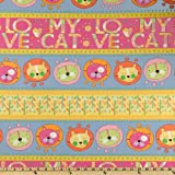 44'' Wide Cat Crazy Love My Cat Border Stripe Twilight/Pink Fabric By The Yard