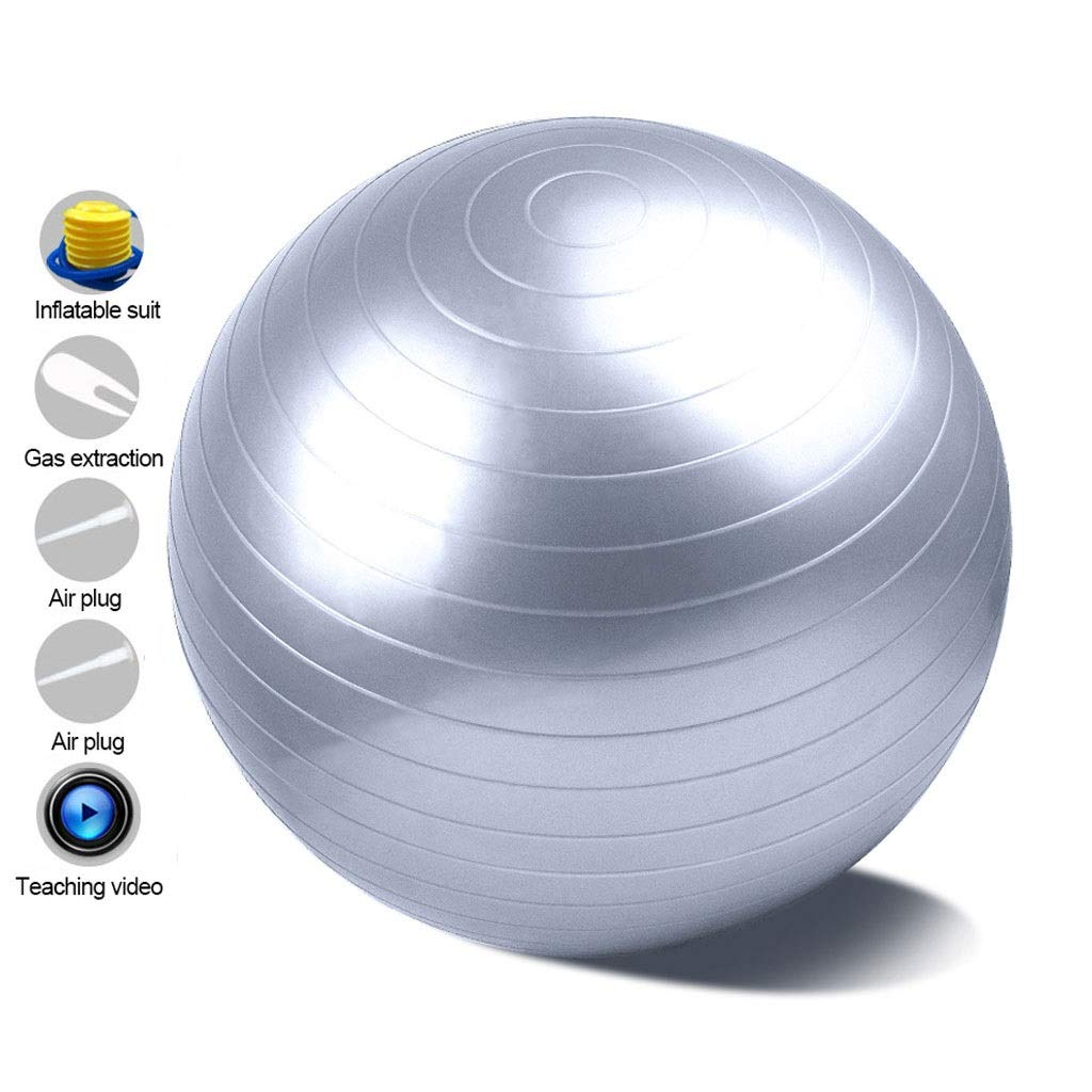 Anti-Burst Heavy Duty Gym Ball, with Pump Physical Therapy Swiss Ball Perfect for Yoga Pilates Birthing Pregnancy Core Training Workout (Office & Home & Gym) (Color : Silver, Size : 55cm)