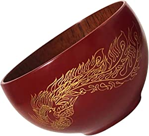 joyMerit Wooden Red Bowl Chinese Style Rice Instant Noodles Fruit Milk Food Container - Red+Phoenix