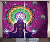 Ambesonne Mandala Decor Collection, Meditating Woman with a Macro Mandala Lotus on Her Head Yoga Theme Chakra Image, Living Room Bedroom Curtain 2 Panels Set, 108 X 84 Inches, Purple Green For Sale
