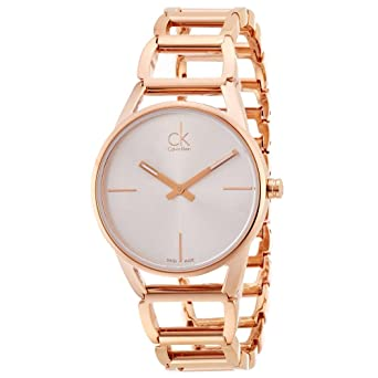 c2bb0a571 Amazon.com  Calvin Klein Women s Stately Watch - K3G23626 Silver Rose Gold  One Size  Watches
