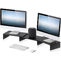 FITUEYES 3 Shelf Monitor Stand Riser, Multifunctional Desktop Organizer, Length and Angle Adjustable Black DT108001WB