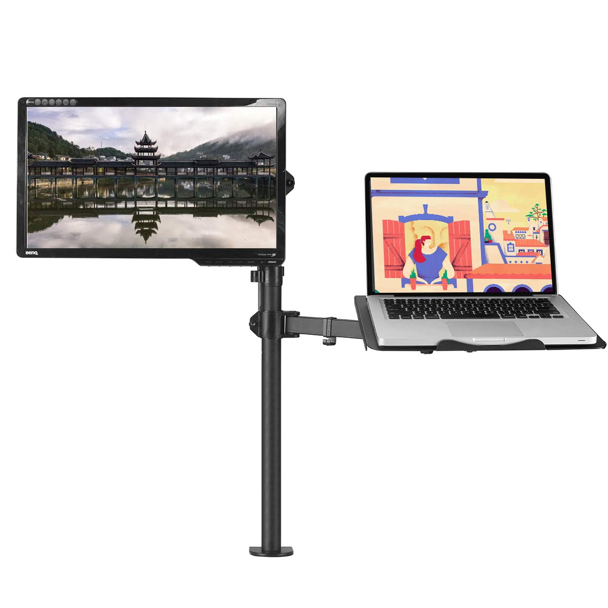 Suptek Full Motion Computer Monitor and Laptop Riser Desk Mount, Height Adjustable (800mm), Fits 13-27'' Screen and up to 17'' Notebooks, VESA 75/100, up to 22lbs for Each (MD6832TP004)