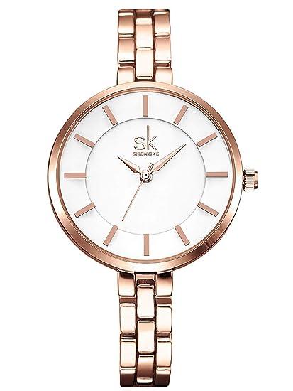 Alienwork Reloj Mujer Relojes Acero Inoxidable Oro Rosa Analógicos Cuarzo Blanco Impermeable Elegante: Amazon.es: Relojes