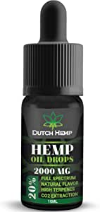 Hemp Oil Drops High Strength 2000mg - 20% | Great for Severe Pain Anxiety Stress Relief Sleep Support | Organic Co2 Extract | Best from The Netherlands