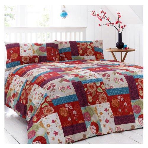 Oriental Bedding Patchworkdecken-Set, Rot, Violett, Blumenmuster, Polybaumwolle, Bettbezug Doppelbett
