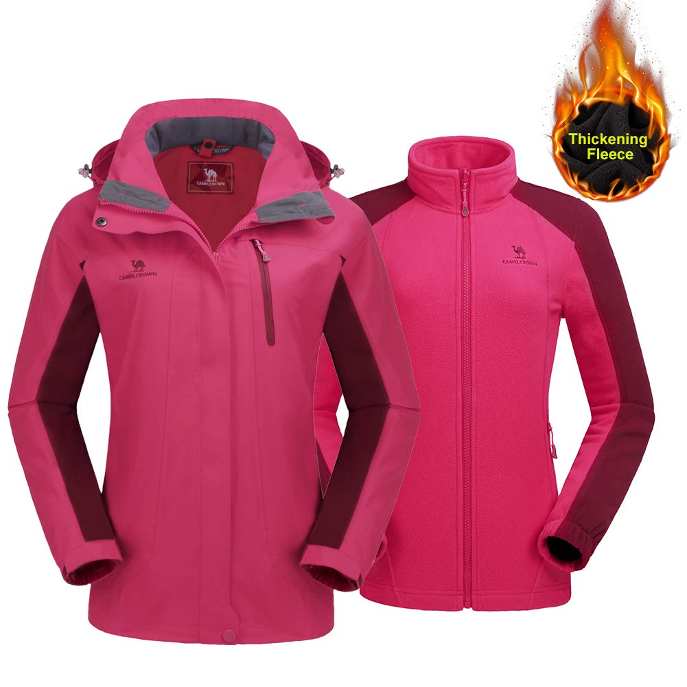 046864be17d89 Amazon.com  CAMEL CROWN Women s Ski Jacket Winter Jacket Waterproof 3 in 1 Mountain  Coat Windproof Hooded with Inner Warm Fleece Coat  Clothing