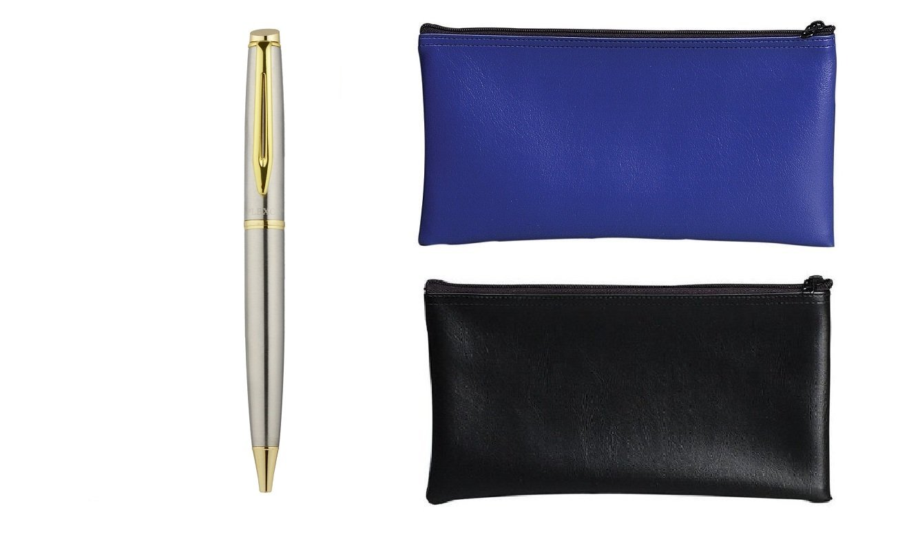 PM Company Securit Bank Deposit / Utility Zipper Coin Bag, 11 X 6 Inches, 1 Black and Blue Each with Plexon Metal Roller Pen