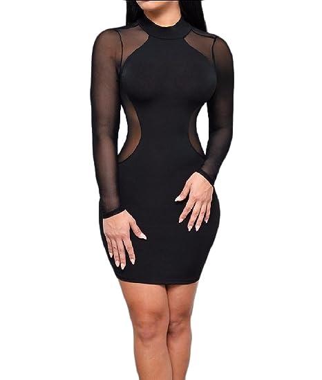 5e3fc55339fb2 RDHOPE-Women Club See Through Sexy Curvy Long Sleeve Mesh Pencil Dress  Black XS