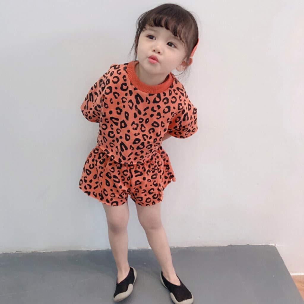 Womola 2pcs Womola Toddler Kids Baby Girls Leopard Short Sleeve t-Shirt Wide Leg Shorts Set