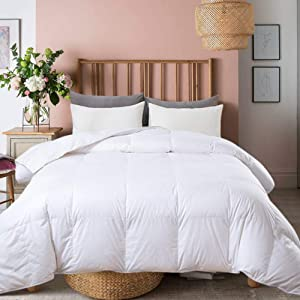Ubauba All-Season Down Comforter 100% Cotton Hypoallergenic Quilted Feather Comforter with Corner Tabs. Lightweight Goose Down Duvet Insert White Cotton Comforter - Queen/Full 90x90