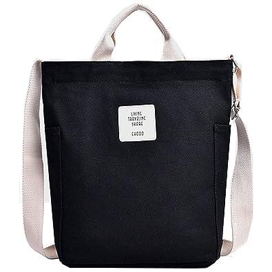 c3050e788c Tlend Canvas Black Women Handbag Shoulder Bag Crossbody bags Tote Bag  Shopping Bag ladies