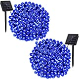 Solarmks DC-B2200 Solar 72ft Bule Outdoor String, 2 Pack 200 LED Seasonal Decorative Lighting for Home, Lawn, Garden, Wedding, Patio, Party and Holiday