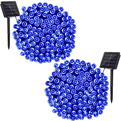 Solarmks DC-B2200 Solar 72ft Bule Outdoor String 2 Pack 200 LED Seasonal Decorative Lighting for Home, Lawn, Garden, Wedding, Patio, Party and Holiday by Solarmks