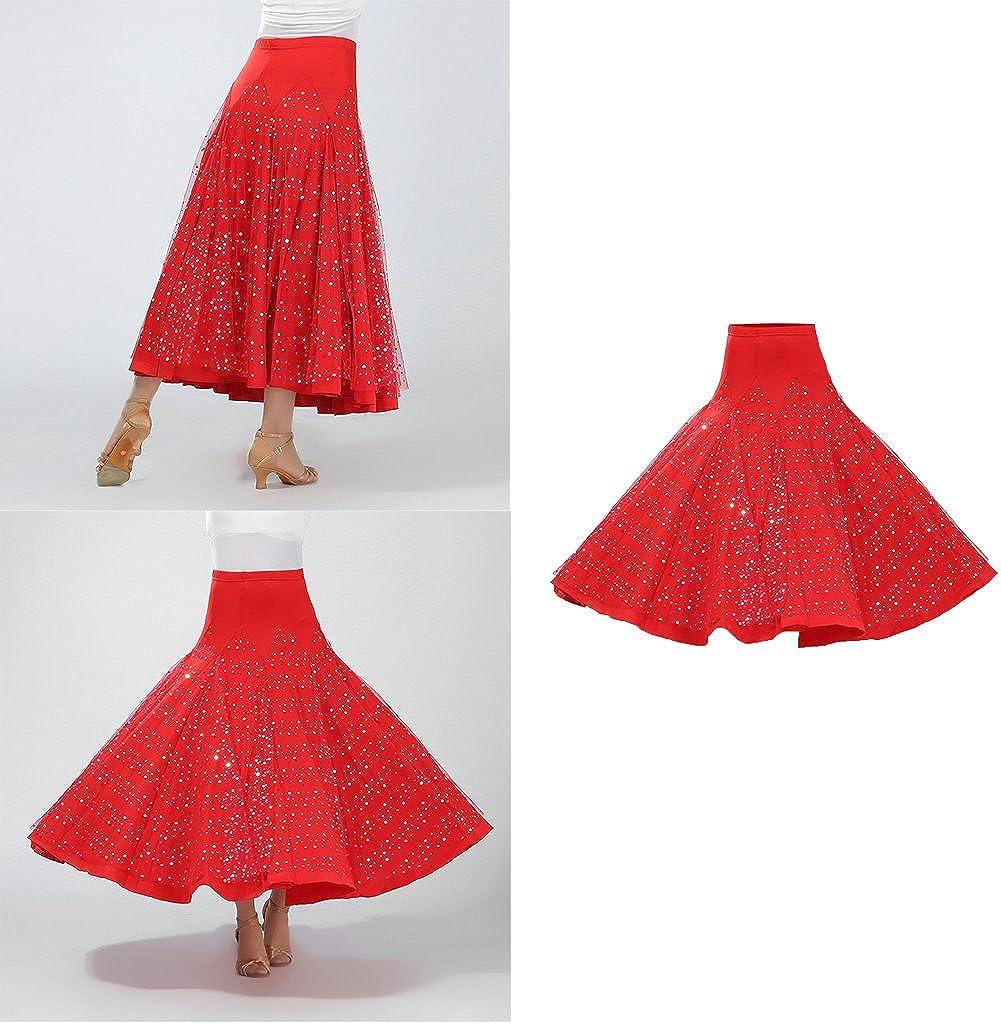 MagiDeal Costume De Danse Salon De Flamenco Robe Jupe Longue Paillette Valse