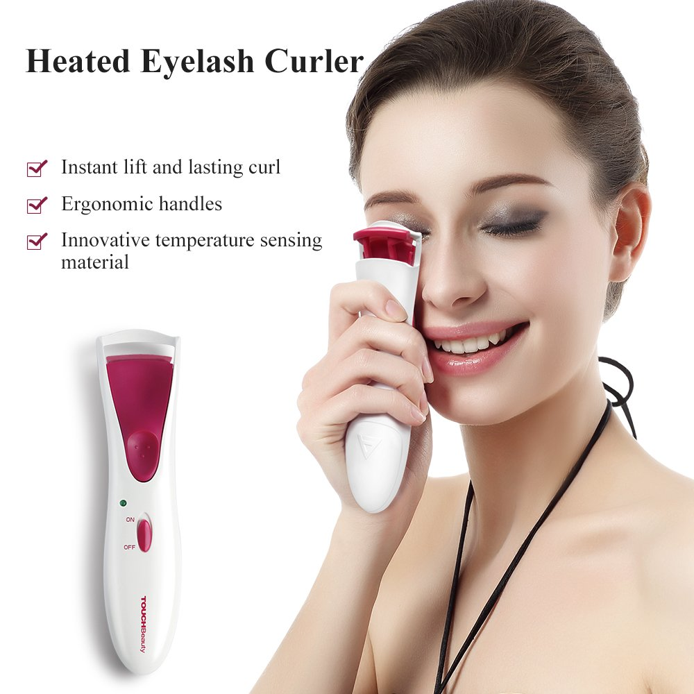TOUCHBeauty Heated Eyelash Curler with Double Silicone Pad White (NEW Upgraded version) EC-1016B