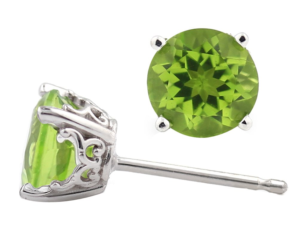 Solid 14k White Gold Peridot Stud Earrings 6mm Round