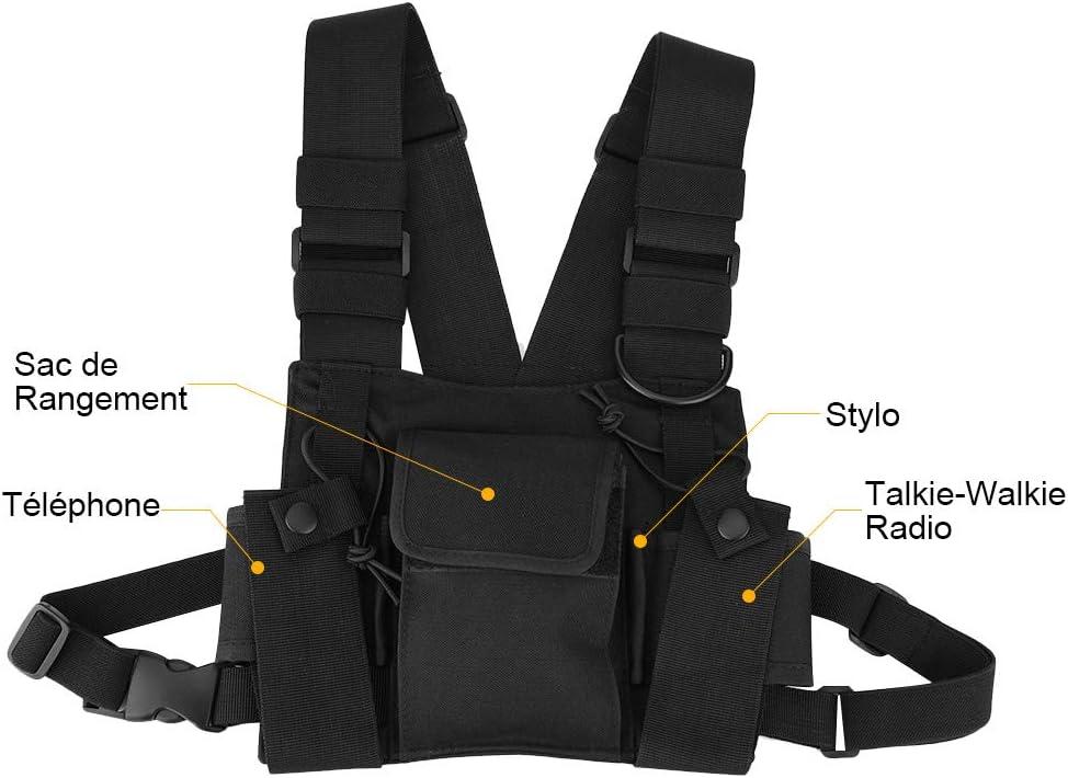 Zerone Walkie Talkie Chest Bag Sac Mains Libres Universel Ajustable à Suspendre avec Un Nylon de Haute qualité