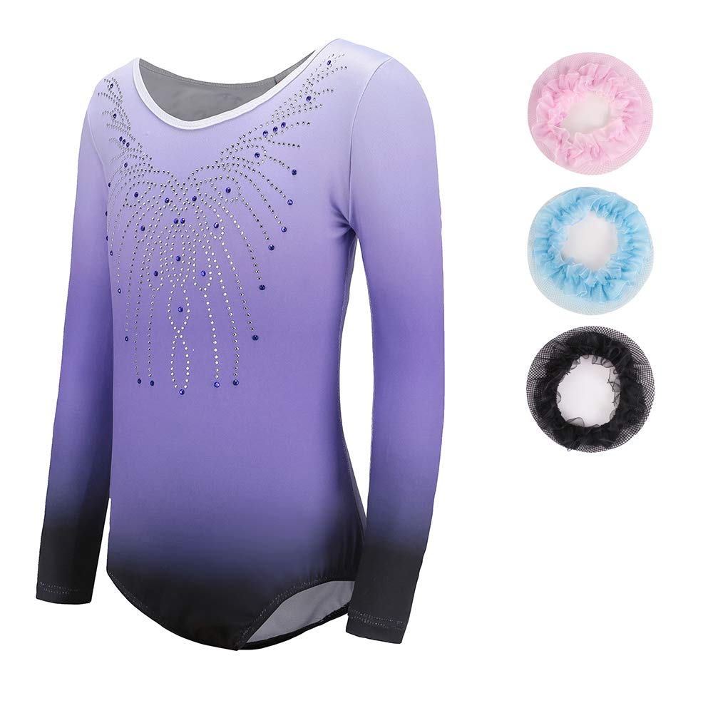 One Piece Leotards Kid Gymnastic Athletic Dancing Outfit Purple 9-10Years