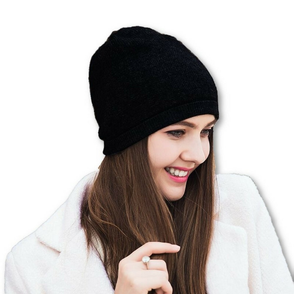 WaySoft Pure 100% Cashmere Beanie for Women in a Gift Box, Oversized Women Beanie Hat, Bring Warm and Luxury to Your Loved Ones, Perfect (Black) by WaySoft