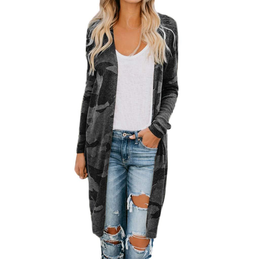 Women Long Cardigan Camouflage Long Sleeve Coat Leisure Leopard Print Outerwear Coat (Black, XL) by Bookear Cardigan