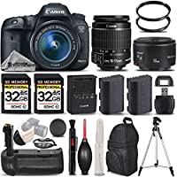 Canon EOS 7D Mark II Digital SLR Camera + Canon EF-S 18-55mm IS STM Lens + Canon 50mm 1.8 II Lens + Battery Grip + Backup Battery. All Original Accessories Included - International Version