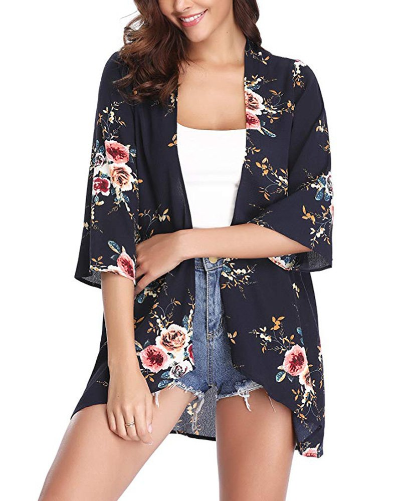 PopStore Women's Floral Print Sheer Kimono Cardigan Capes Chiffon 3/4 Sleeve Patchwork Casual Cover up Blouse Tops
