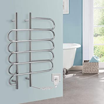 JackeyLove Calentadores de Toallas, Acero Inoxidable eléctrico calienta Calentador Radiador Pared Montaje toallero Carril baño 800 * 600 * 130 mm-80W: ...