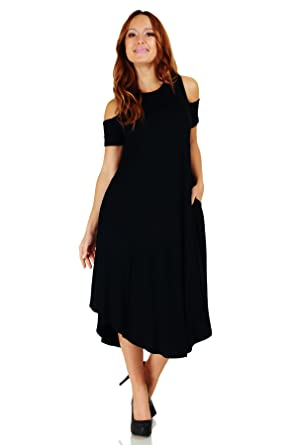 ad9c823613498e Simply Ravishing Open Shoulder Short Sleeve Rounded Hem Mid-Length A-Line  Dress,