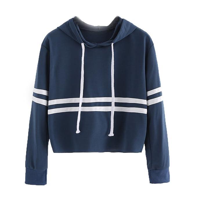 Kukul Sudaderas con capucha para Mujer, 2017 Blusa con Rayas - Crop Tops Sweatshirt (