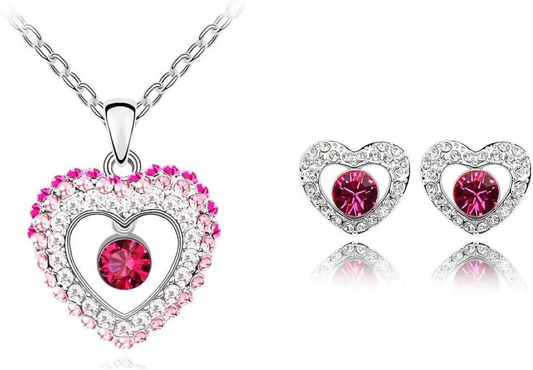 Signore-Signori Cristales de circonia c/úbica 18k Chapado en Oro Rosa Moda Perla Bisuter/ía Collar y Pendientes