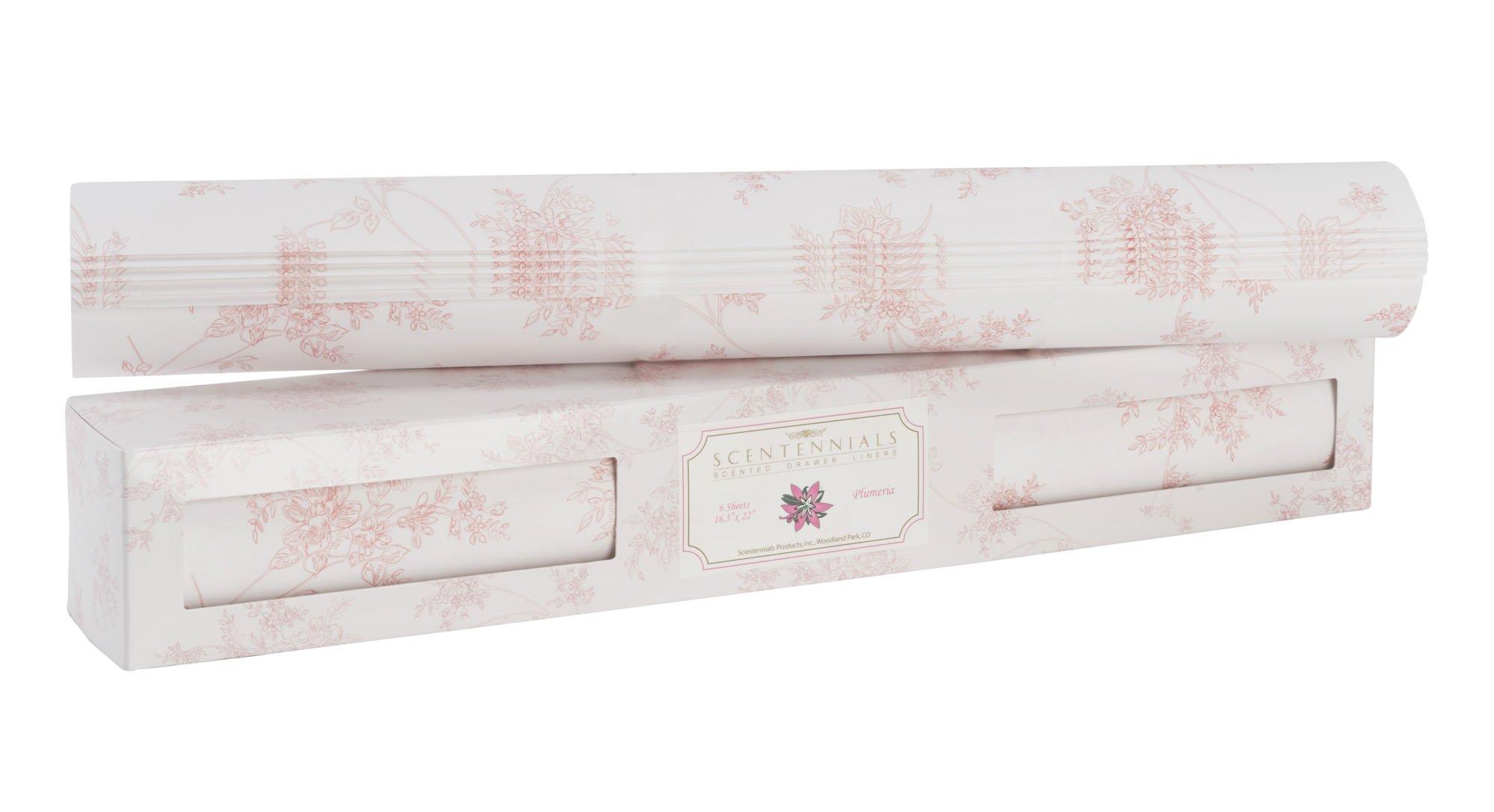 Scentennials Original Series PLUMERIA (18 SHEETS) Scented Fragrant Shelf & Drawer Liners 16.5'' x 22'' - Great for Dresser, Kitchen, Bathroom, Vanity & Linen Closet