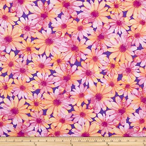 Benartex Kanvas Color Calypso Color Kissed Flowers Purple/Peach Fabric by The Yard