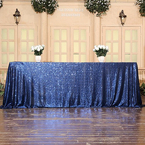3E Home Sequin Tablecloth Cover for Dinner Wedding Birthday Party Reception Table Decor - Navy Blue, 90x132