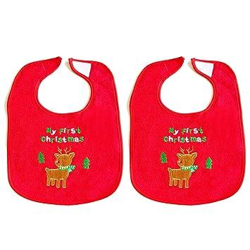 Amazon.com: Navidad impermeable baberos, 2 count, M, Reno: Baby